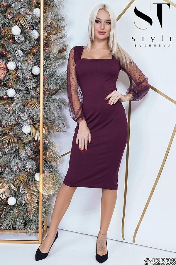 Силуэтное изящное платье с открытым декольте и длинным свободным рукавом из сетки / 4 цвета арт 8478-304