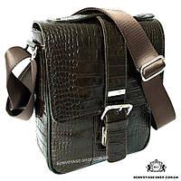 e83c836780f3 Мужская сумка через плечо кожаная Karya 0331-57 мессенджер с тиснением  коричневый