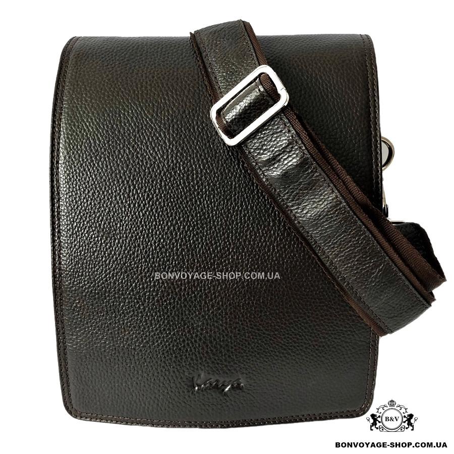 eaf73335c906 Мужская сумка через плечо кожаная Karya 0366-39 мессенджер коричневый -  Интернет-магазин