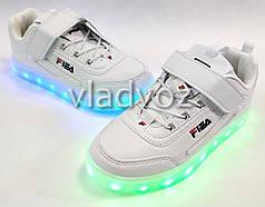 Детские светящиеся кроссовки с led подсветкой для девочки белые 32р.