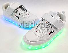 Детские светящиеся кроссовки с led подсветкой для девочки белые 33р.