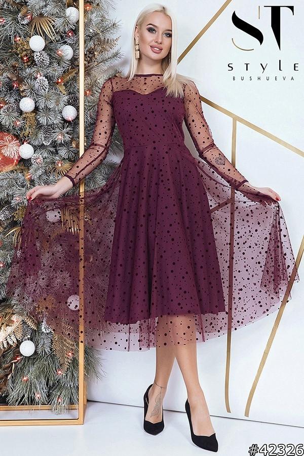 Двухслойное платье миди, верх сетка в горошек / 3 цвета арт 8480-304