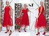 Двухслойное платье миди, верх сетка в горошек / 3 цвета арт 8480-304, фото 6
