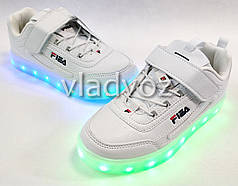 Детские светящиеся кроссовки с led подсветкой для девочки белые 34р.