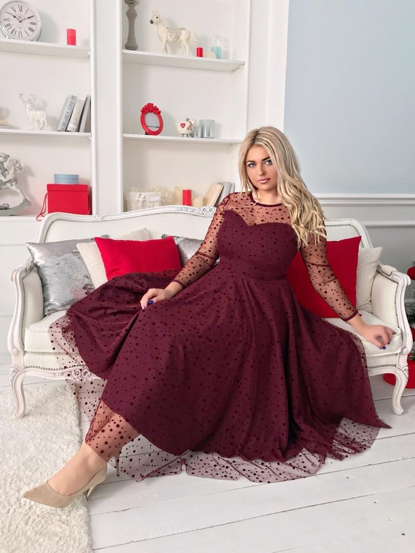 Двухслойное платье миди больших размеров 48+, верх сетка в горошек / 3 цвета арт 8481-304