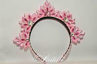 Ободок в виде короны розовая
