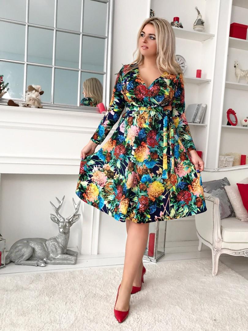 Платье с юбкой клёш длина миди Глубокое V-образное декольте фасона «на запах» / 2 цвета арт 8483-304