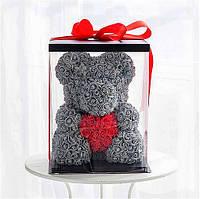Мишка из 3D роз медведь Тедди с красным сердцем в подарочной упаковке 40 см Серый