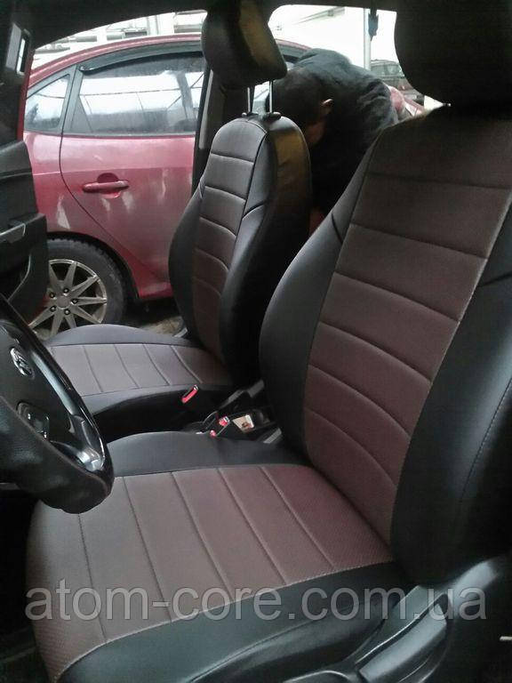Чехлы на сиденья Форд Транзит (Ford Transit) 1+1  (модельные, экокожа, отдельный подголовник, кант)