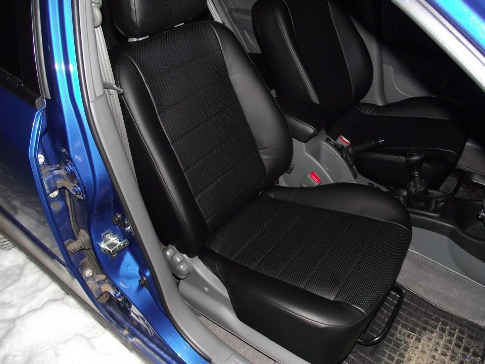 Чехлы на сиденья Фольксваген Гольф 5 (Volkswagen Golf 5) (модельные, экокожа, отдельный подголовник)