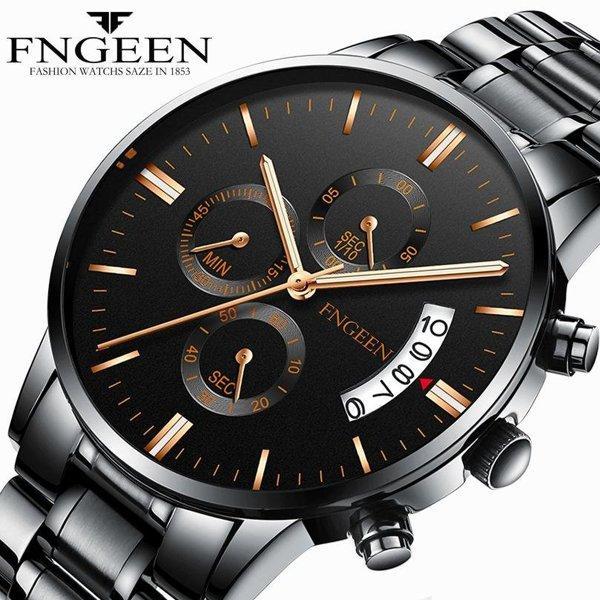 Годинники наручні Fngeen Fenz 5055 чорний ремінець Число Флуоресцентні Водонепроникні