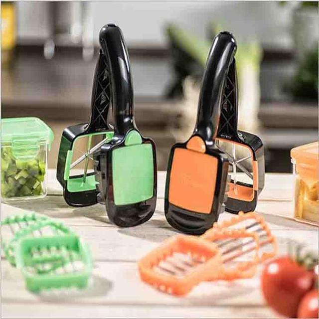 Овощерезка слайсер Dicer Fruit Vegetable Cutter Nicer Dicer Quick Stainless Steel Chopper - ORANGE 5 в 1