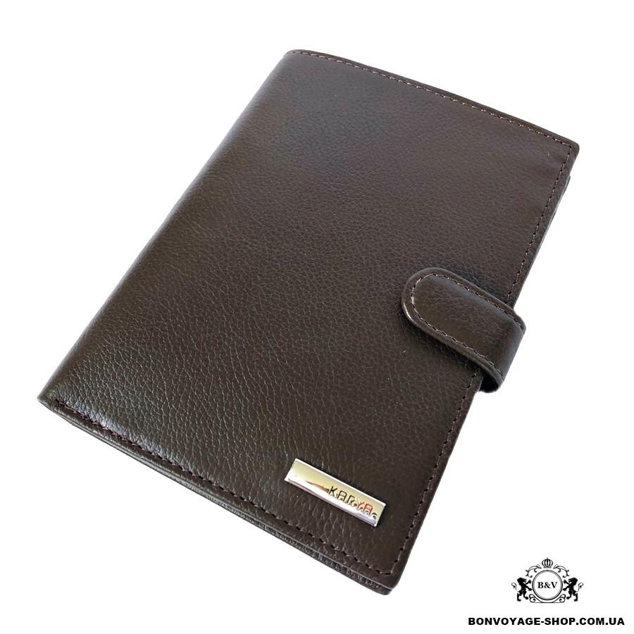 6b97e565f277 Мужской кожаный кошелек с обложкой для документов Karya 0914-39 коричневый