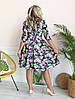 Стильное платье больших размеров с расклешенной юбкой V- образное декольте, рукав 3/4 / 2 цвета арт 8493-304, фото 2