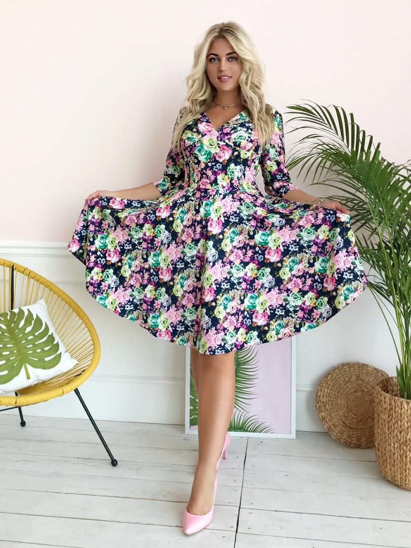 Стильное платье больших размеров с расклешенной юбкой V- образное декольте, рукав 3/4 / 2 цвета арт 8493-304