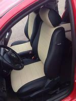 Чехлы на сиденья Ниссан Примастар Ван (Nissan Primastar Van) 1+1 (модельные, экокожа, отдельный подголовник, кант) черно-бежевый