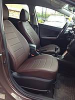 Чехлы на сиденья Опель Астра G (Opel Astra G) (модельные, экокожа, отдельный подголовник) черно-коричневый
