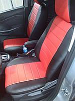 Чехлы на сиденья Опель Вектра Б (Opel Vectra B) (модельные, экокожа, отдельный подголовник) черно-красный