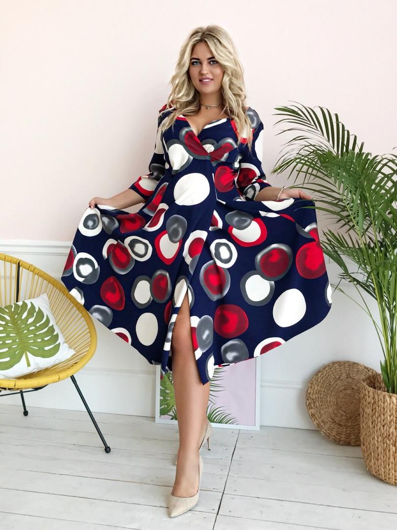 Стильное платьебольших размеров 48+ с карманами, яркий принт  арт 8496-304