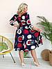 Стильное платьебольших размеров 48+ с карманами, яркий принт  арт 8496-304, фото 4