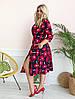 Стильное платьебольших размеров 48+ с карманами, яркий принт  арт 8497-304, фото 2
