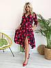 Стильное платьебольших размеров 48+ с карманами, яркий принт  арт 8497-304, фото 3