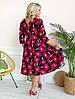Стильное платьебольших размеров 48+ с карманами, яркий принт  арт 8497-304, фото 4