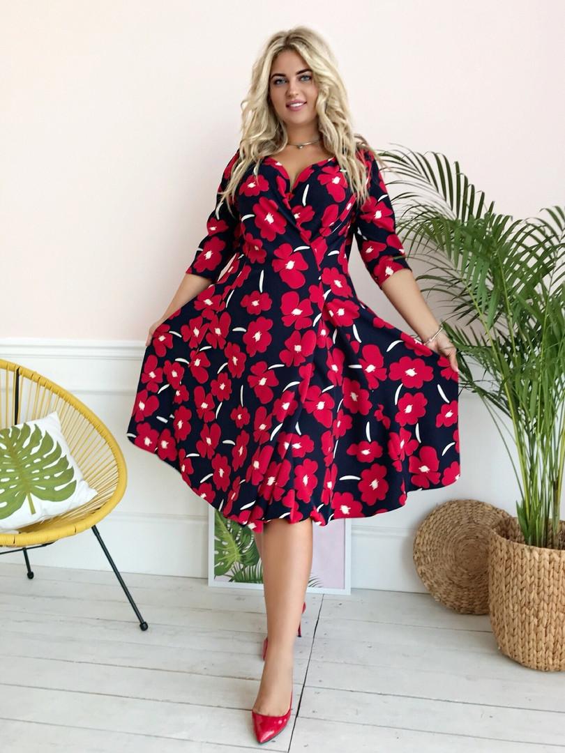 Стильное платьебольших размеров 48+ с карманами, яркий принт  арт 8497-304