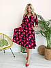 Стильное платьебольших размеров 48+ с карманами, яркий принт  арт 8497-304, фото 5