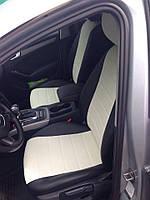 Чехлы на сиденья Тойота Авенсис (Toyota Avensis) (модельные, экокожа, отдельный подголовник) черно-белый