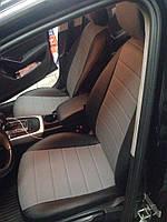 Чехлы на сиденья Тойота Авенсис (Toyota Avensis) (модельные, экокожа, отдельный подголовник) черно-серый