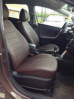Чехлы на сиденья Тойота Аурис (Toyota Auris) (модельные, экокожа, отдельный подголовник) черно-коричневый