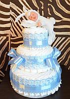 Торт из памперсов мальчику с зайкой Анны Геддес
