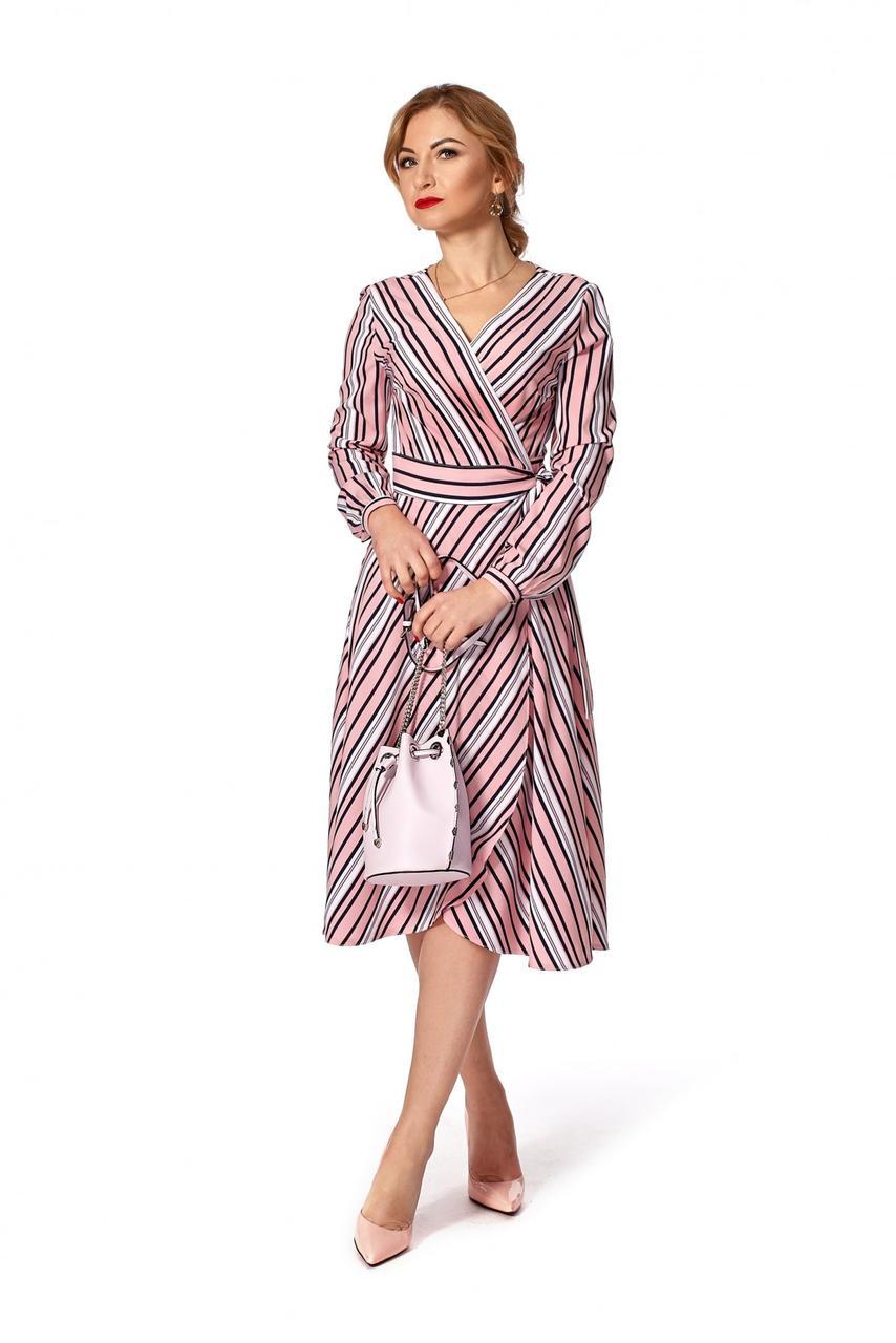 16719121a5c Пудровое женское платье на запах в полоску р.46  продажа