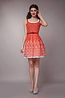 Платье женское с двойной юбкой оранжевого цвета