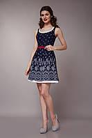 Платье женское с двойной юбкой темно-синего цвета