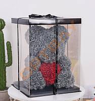 НОВИНКА!!! Мишка из искусственных роз 40см 3D в подарочной упаковке мишка Тедди