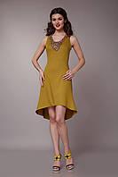 Платье горчичное с декором ручной работы