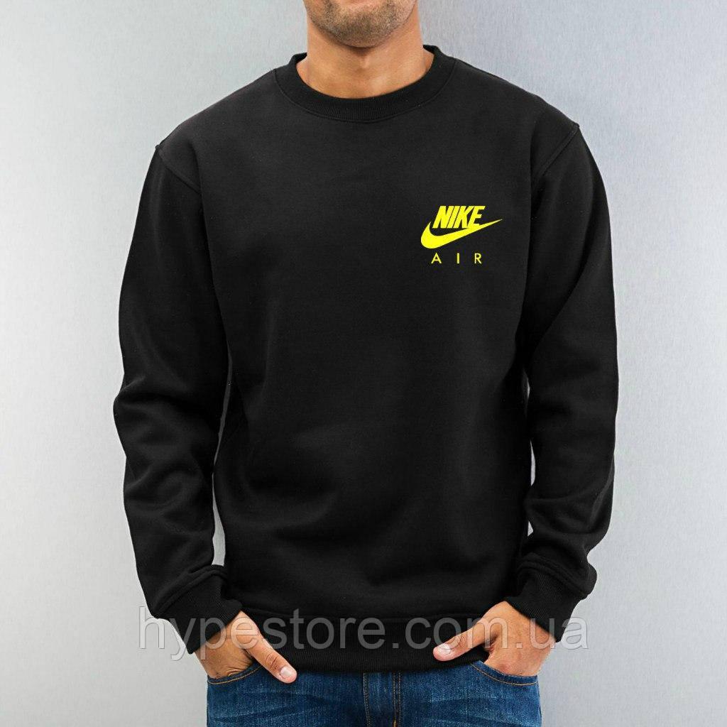 Мужской спортивный свитшот, кофта, лонгслив, реглан Nike Air (желтый лого), Реплика