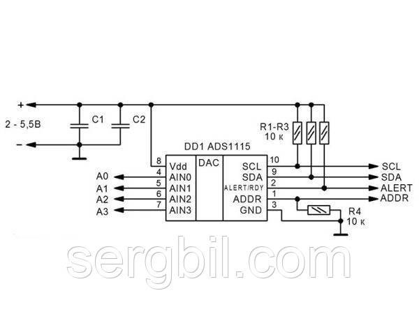 модуль АЦП на ADS1115 16bit, I2C, 4 канала