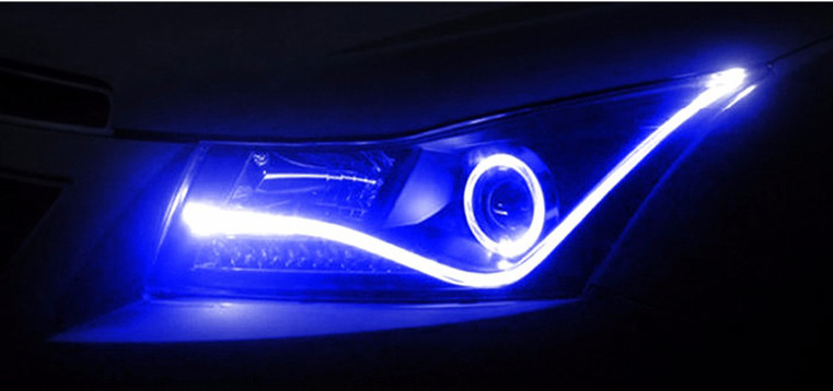 Гибкий неон в фары Light guide lamp/60см (Blue) комплект 2шт, неон для авто фар  Синий