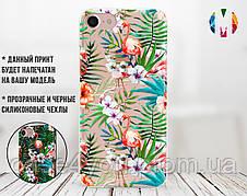 Силиконовый чехол для Apple Iphone 8 plus Фламинго и листья (4023-3002)