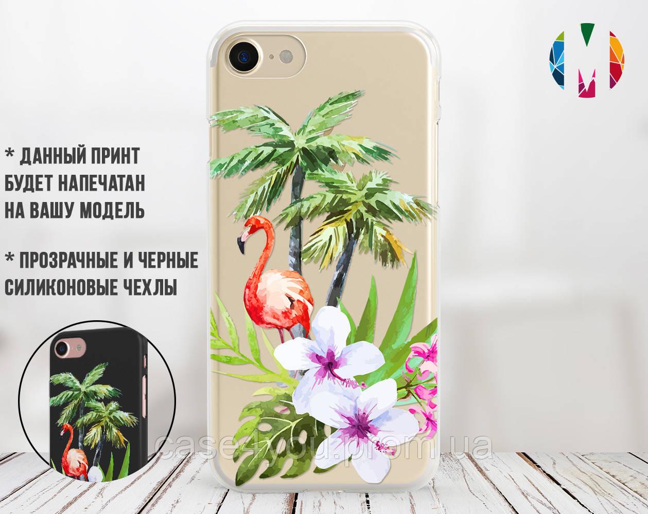Силиконовый чехол для Apple Iphone 8 plus (Фламинго в цветах)