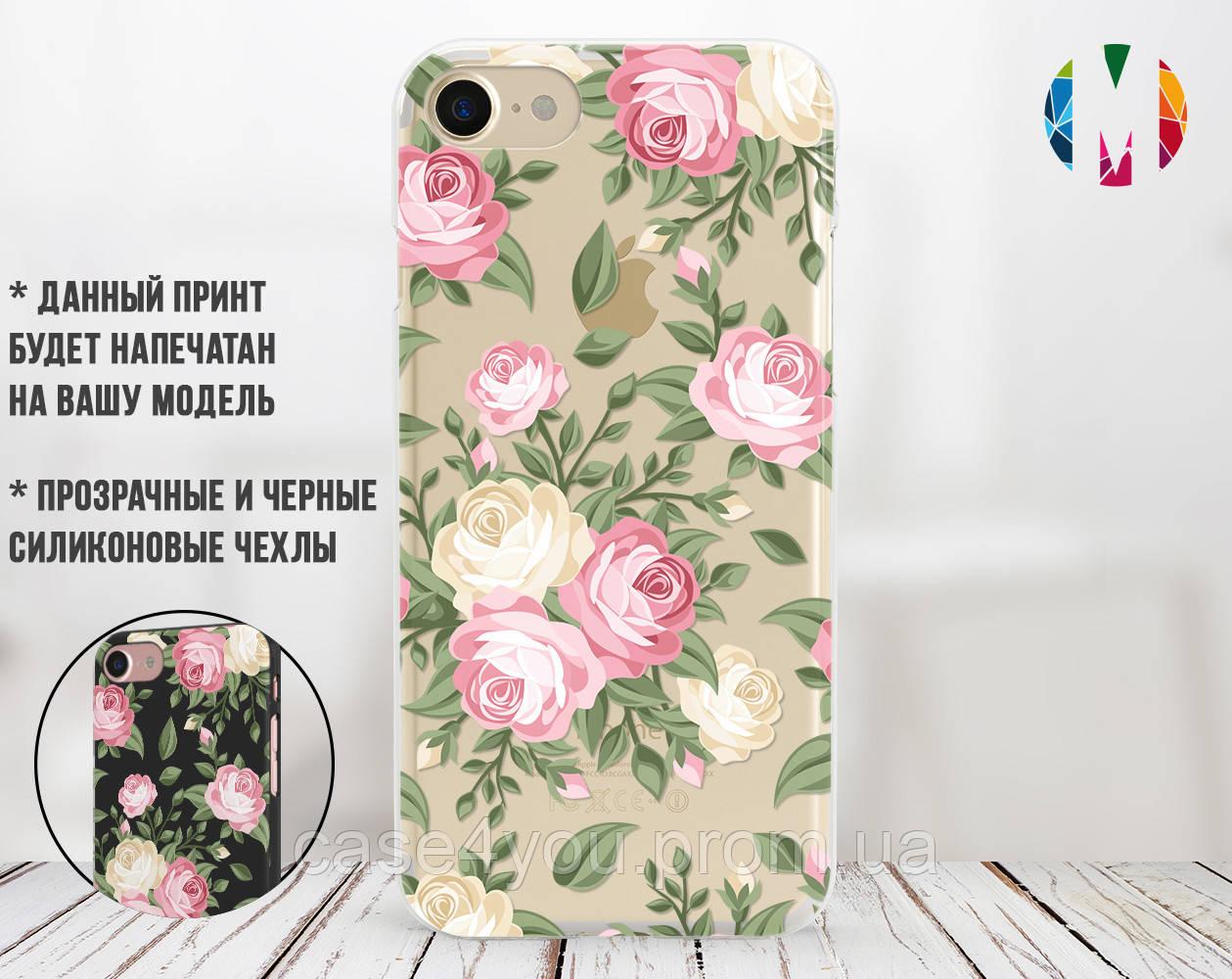 Силиконовый чехол для Apple Iphone 8 plus (Кремовые розы)