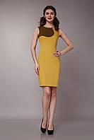Платье горчичное двухцветное