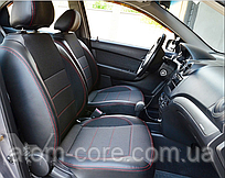 Чехлы на сиденья Фиат Линеа (Fiat Linea) (модельные, экокожа+автоткань, отдельный подголовник)