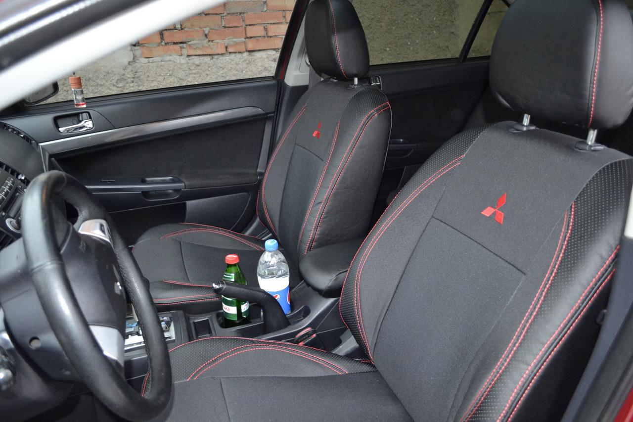 Чехлы на сиденья Хонда Цивик (Honda Civic) (модельные, экокожа+автоткань, отдельный подголовник)