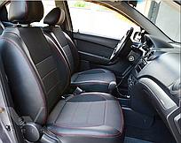 Чехлы на сиденья Хендай Акцент (Hyundai Accent) (модельные, экокожа+автоткань, отдельный подголовник)