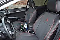 Чехлы на сиденья Шкода Фабия (Skoda Fabia) (модельные, экокожа+автоткань, отдельный подголовник)