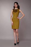Платье  двухцветное желтая маслина